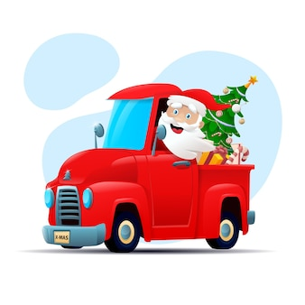Счастливый санта-клаус водит грузовик, полный рождественских подарков.