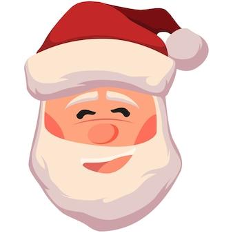 幸せなサンタクロースの顔のイラスト。白で隔離のクリスマスサンタクロースの頭