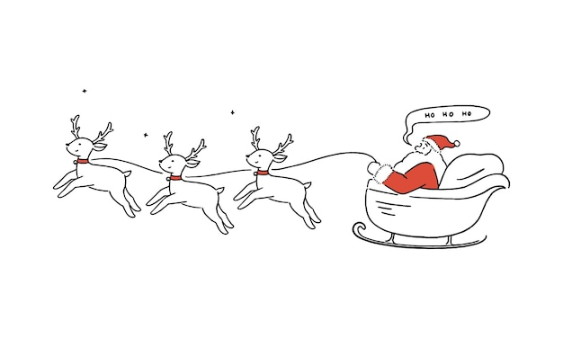 Happy santa claus flying in sleigh with reindeers, christmas, holiday concept, hand-drawn line art style  illustration.