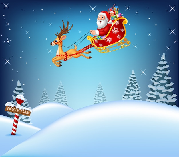 Happy santa claus in his sled pulled by reindeer