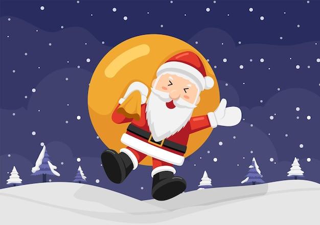 袋を持って雪の上をジャンプする幸せなサンタクロース。クリスマスの背景の概念。