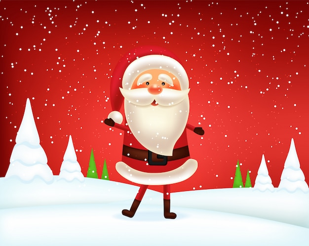 Happy santa claus, merry christmas and happy new year, red background with snowflakes, realistic santa character, winter