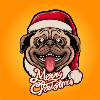 Happy santa claus pug illustration