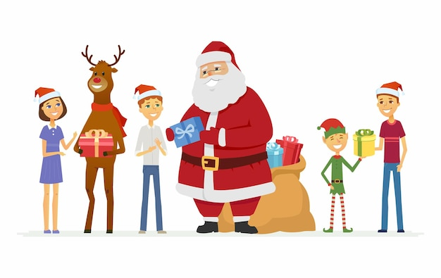 행복 한 산타 클로스, 순 록과 어린이 - 만화 캐릭터 흰색 배경에 고립 된 그림. 선물 가방을 들고 웃고 있는 아버지 프로스트, 사슴과 엘프가 서서 아이들에게 선물을 줍니다.