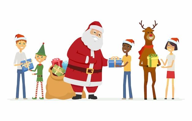 행복 한 산타 클로스, 순 록 및 국제 어린이 - 만화 캐릭터 흰색 배경에 고립 된 그림. 선물 가방을 들고 웃는 아버지 프로스트, 사슴과 엘프는 아이들에게 선물을 줍니다