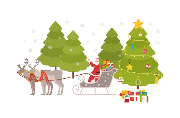 Happy santa claus sits in sleigh carried by reindeers and rides through snowy forest