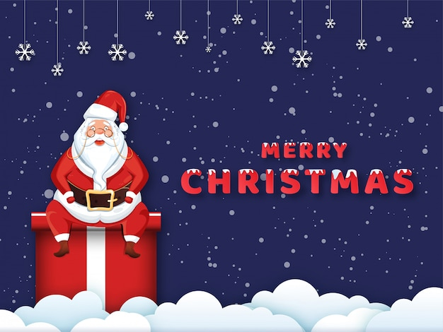 Happy santa claus sitting on gift box with hanging snowflakes decorated on paper cut cloudy and purple snowfall  for merry christmas celebration.