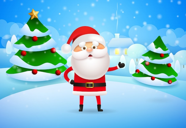Happy santa claus standing at christmas trees in winter v
