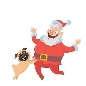Счастливый санта-клаус с собакой. символы для новогодних открыток на год собаки по восточному календарю. иллюстрация, на белом фоне.