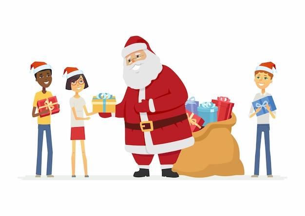 Счастливый санта-клаус с международными детьми - герои мультфильмов изолировали иллюстрацию на белом фоне. улыбающийся дед мороз стоит с мешком подарков и преподносит детям подарки. рождественское понятие