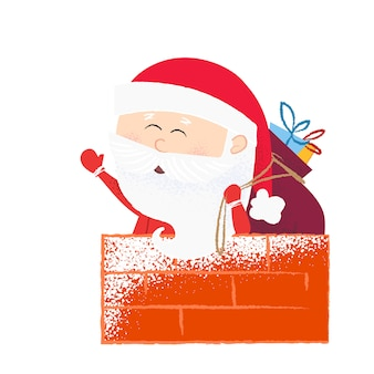 Happy santa claus with sack in chimney