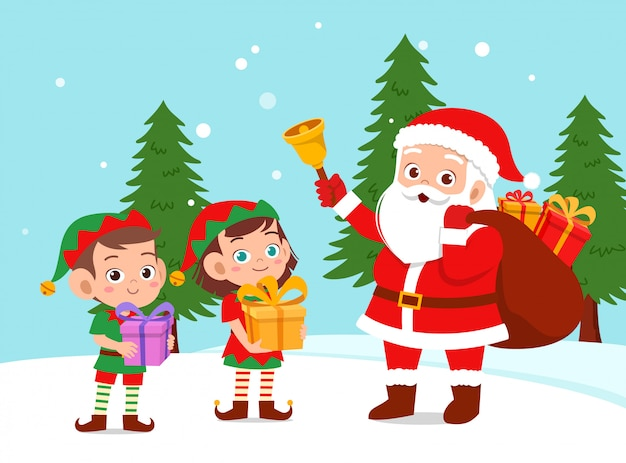 Happy santa give present to kids