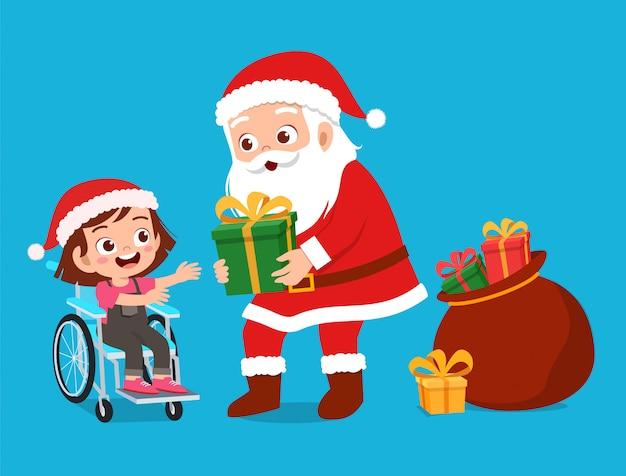 Happy santa give present to kids