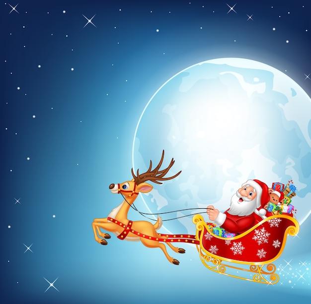 Happy santa in his christmas sled being pulled by reindeer