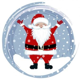Happy santa in snow