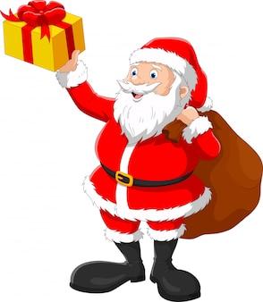 Happy santa with sack