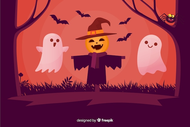 Happy scarecrow and ghosts halloween background