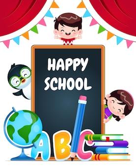 행복한 학교 아이들과 펭귄