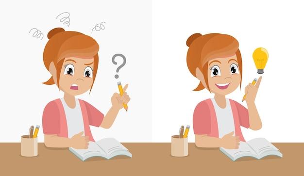 그의 숙제에 문제가 있고 열심히 생각하는 행복 학교 소녀