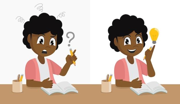 Счастливая школьница испытывает проблемы с домашней работой и тяжело думает