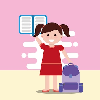 Happy school little girl holding open book backpack