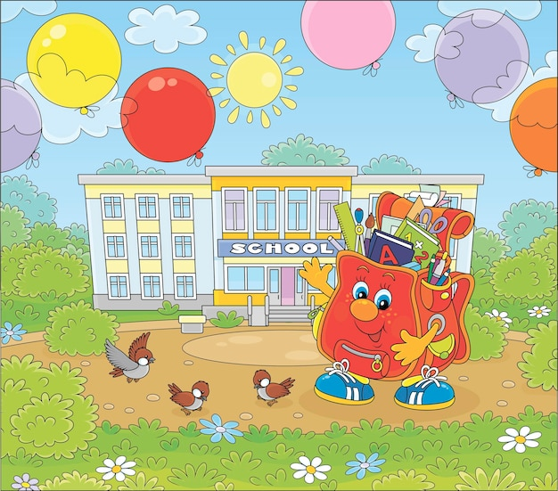 Happy schoolbag cartoon character with colorful balloons in front of a school on a sunny day vector cartoon illustration