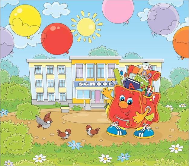 Счастливый школьный мультипликационный персонаж с разноцветными воздушными шарами перед школой в солнечный день векторные иллюстрации шаржа