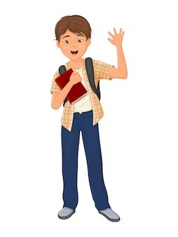 、教科書で幸せな少年。白い背景の上の孤立したオブジェクト。