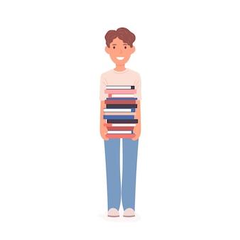 本の山を持つ幸せな男子生徒
