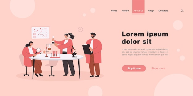 Happy scientist making research in laboratory landing page in flat style