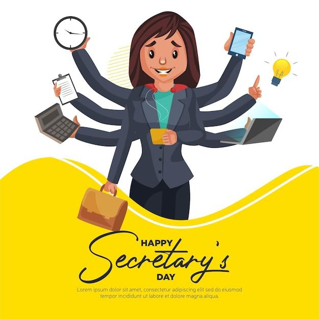 Happy secretary day banner design template