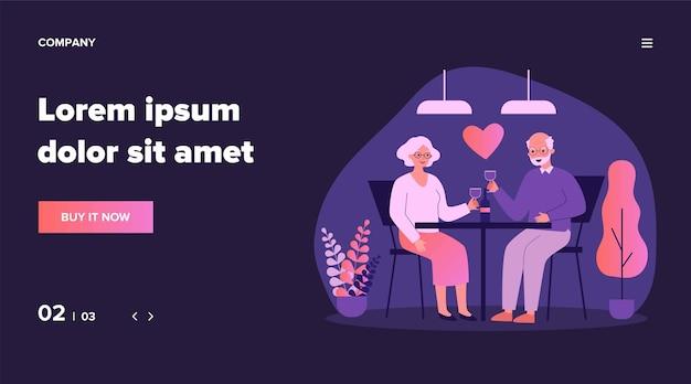 Счастливая пара старших свиданий. седые волосы мужчина и женщина пьют вино, красное сердце иллюстрации. любовь, романтика в любом возрасте, юбилейная концепция для баннера, веб-сайта или целевой веб-страницы