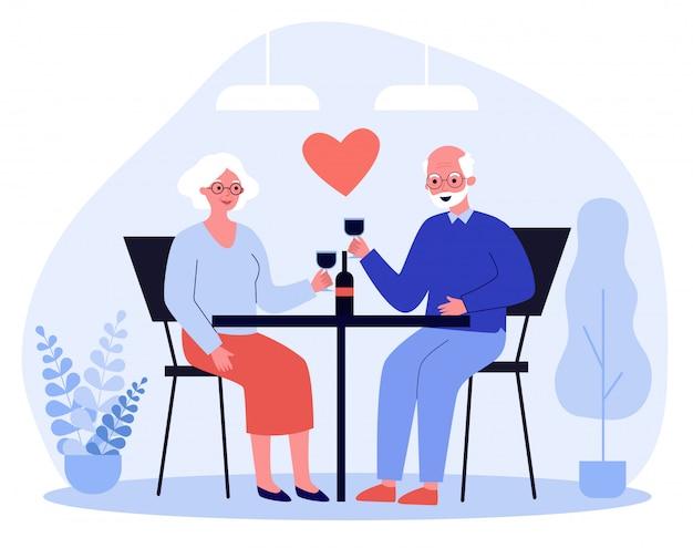 Happy senior couple date