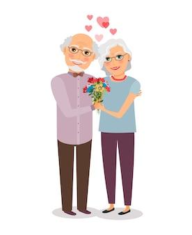 幸せな年配のカップル。人々の妻と夫、祖父母の高齢者。ベクトルイラスト