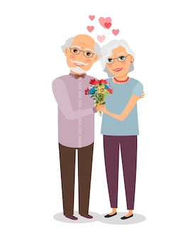Happy senior couple. people wife and husband, grandparent elderly. vector illustration