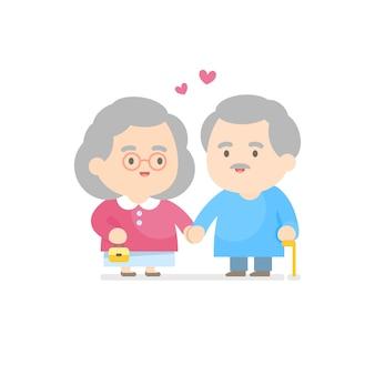 함께 웃 고 행복 한 노인 부부