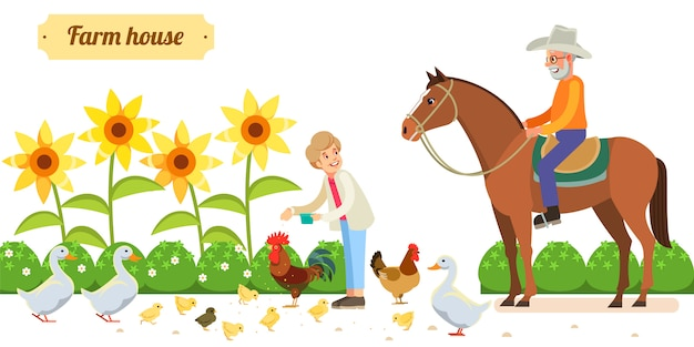 Happy senior couple with animals and birds in organic rural farm