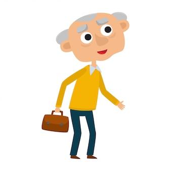 Счастливый старший джентльмен с серебряными волосами, стоя с сумкой, мультяшный старик, изолированный на белом.