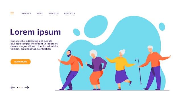 Счастливые старшие люди танцуют на вечеринке