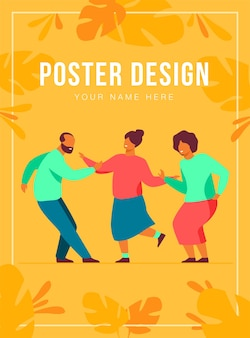 Happy senior people dancing at party poster template
