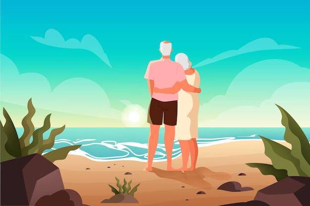 열 대 해변에서 함께 시간을 보내는 행복 한 노인. 그들의 여름 휴가에 은퇴 한 부부. 방문 페이지 또는 웹 배너 개념.
