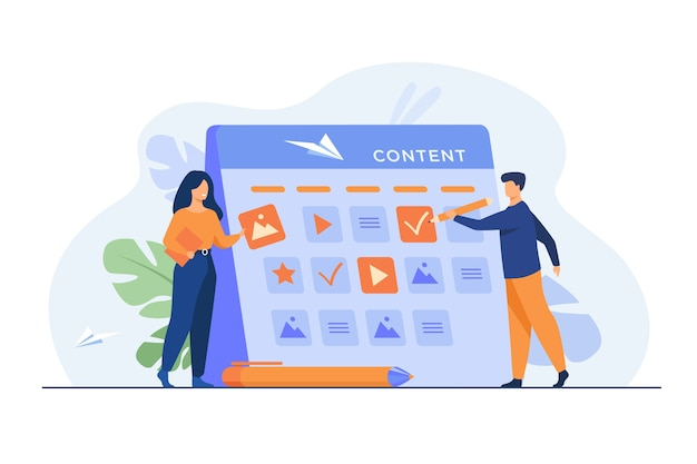 Happy seo planning campaign for social media isolated flat illustration.