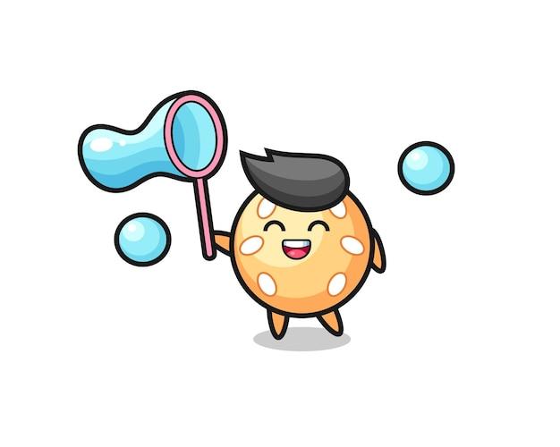 Счастливый мультфильм мяч кунжута, играющий в мыльный пузырь, милый стиль дизайна для футболки, стикер, элемент логотипа