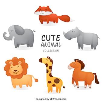 Happy set of smiley animals