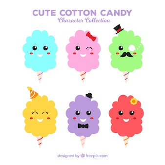 Happy set of smiley cotton candy