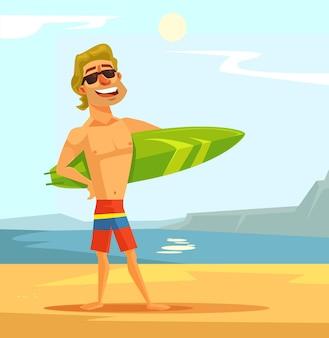 Happy sexy surfer man with surfing board flat cartoon illustration