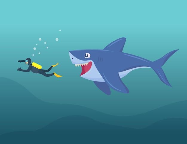 다이버 수중 만화 일러스트를 공격하는 행복한 상어
