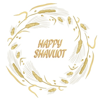 Happy shavuot wheat wreath greeting card