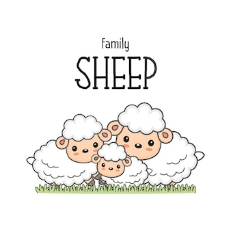 Happy sheep family. mom dad and baby sheep cartoon on the grass.