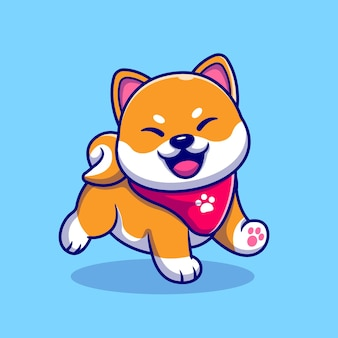 Happy shiba inu dog wearing scarf cartoon  illustration. animal nature concept isolated . flat cartoon style